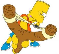 Bart with a slingshot: sometimes it is so difficult to score with a slingshot as wiht a tag manager event trigger